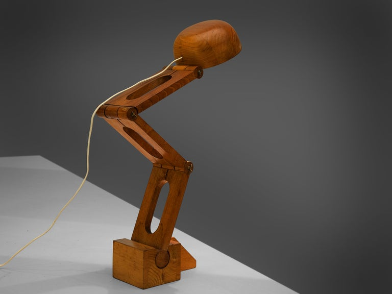 Mid-20th Century Playful Table Lamp by Paolo Pallucco in Solid Oak For Sale