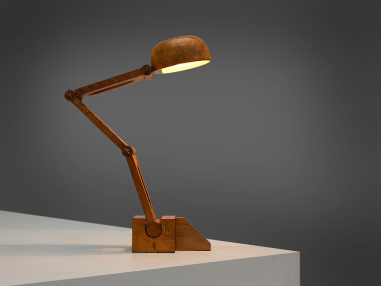 Playful Table Lamp by Paolo Pallucco in Solid Oak For Sale 2