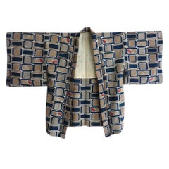 Playground Kids Print lined Antique Japanese Unisex Silk Haori Kimono Jacket