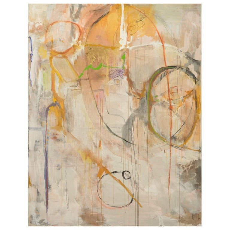 """""""Playing,""""  Large Framed Abstract Oil on Canvas by Kathi Robinson Frank For Sale"""