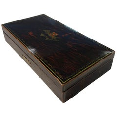 Playing Cards Casket Box, Rosewood with Paintings, Paris, France, circa 1920
