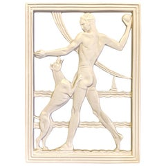 """""""Playing Fetch,"""" Art Deco Relief Panel with Man in Swimsuit and Greyhound"""