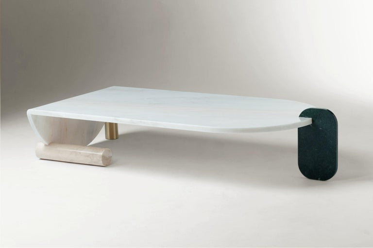 The essential shapes of these tables play between them in an alluring game of proportion and color which results in the creation of a perfect balance and tension of material and negative space. The absence of figurative shapes allows you to look at