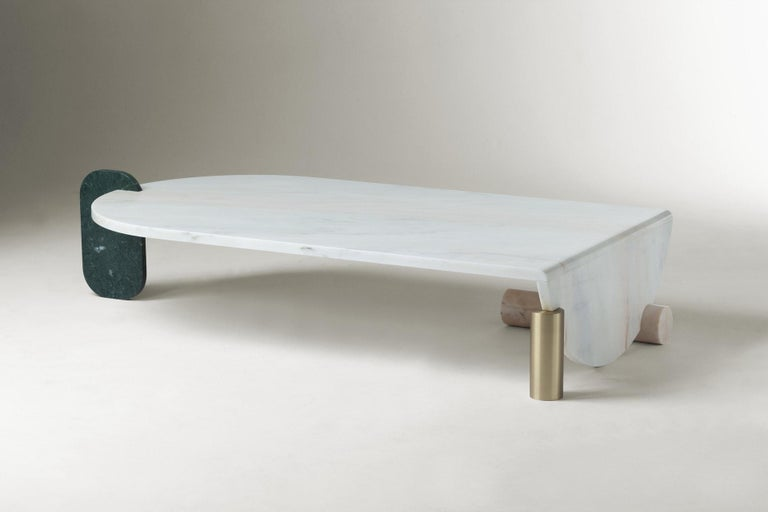 Bauhaus Center Table in Marble and Brass Playing Games For Sale