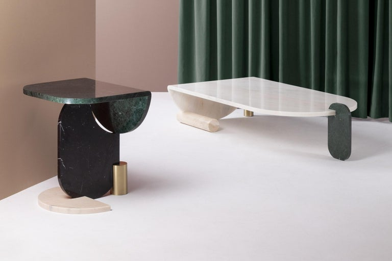 Center Table in Marble and Brass Playing Games For Sale 3