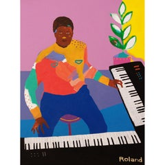 'Playing with Roland' Portrait Painting by Alan Fears Pop Art