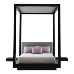 Plaza Bed King Queen, Black Lacquer Upholstered Canopy Headboard Four-Posts