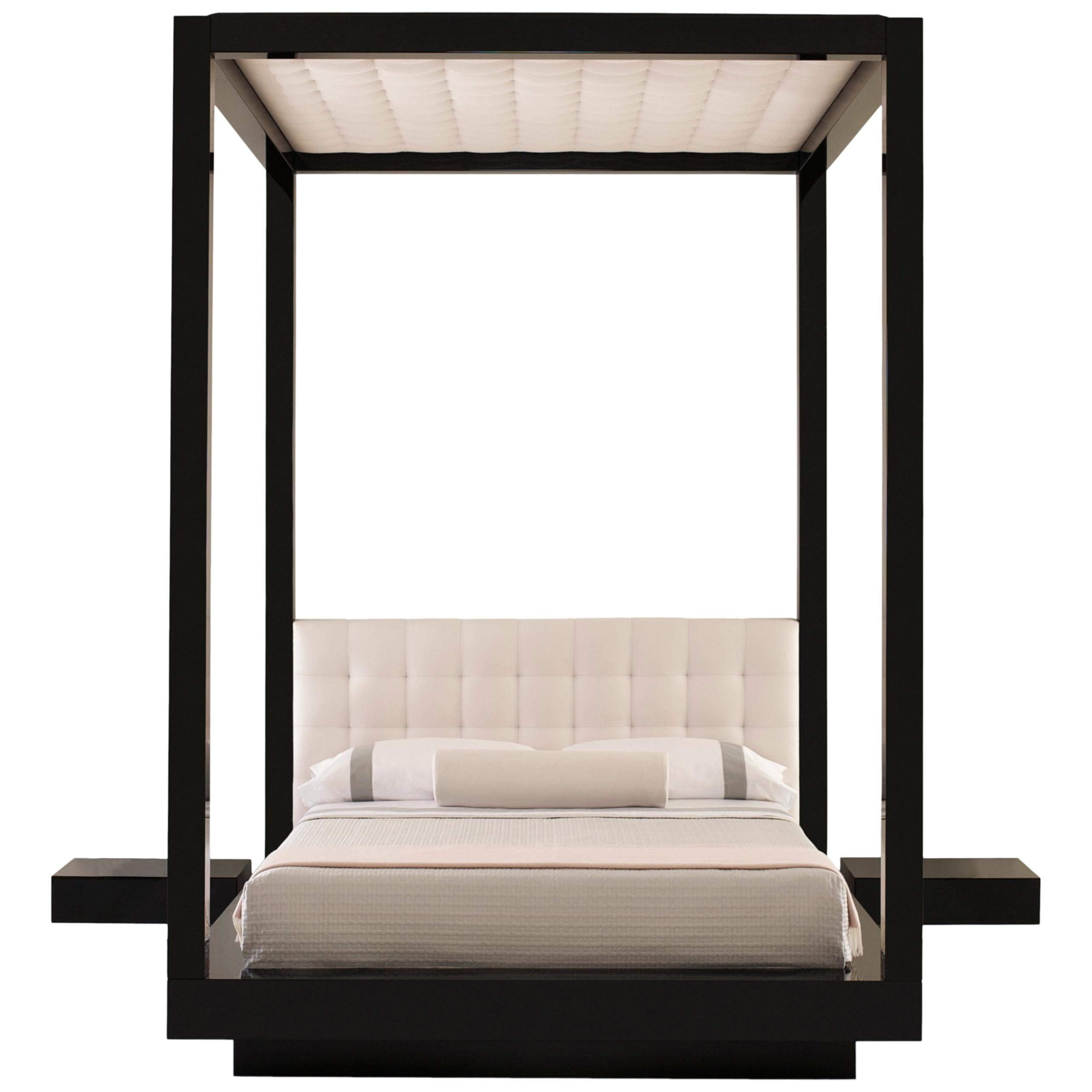 Plaza Bed Queen Tufted Canopy and headboard, Black lacquer