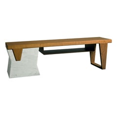 Plaza Bench with Shelf by Paolo Salvadè by MGM Marmi & Graniti