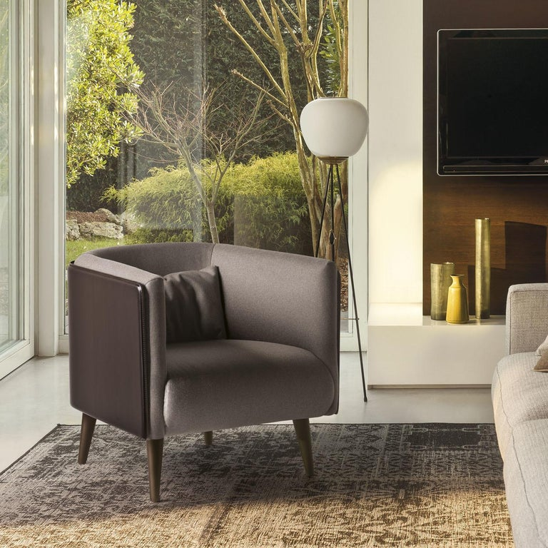 Italian Plaza Dark Brown Leather Armchair For Sale