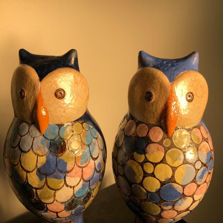 Stunning Pair of Owls Handmade Hand Glazed, Master Designer Eva Fritz-Lindner For Sale 4