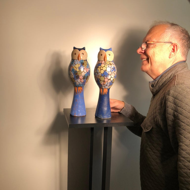 A pair of Polka Dot Owl Art master works- pleasant colorful creations by now deceased master artist Eva Fritz-Lindner (1933-2017)  A cheerful tall vintage handmade and hand-painted pair of pottery owls hand painted in polka dot fashion - sculptures