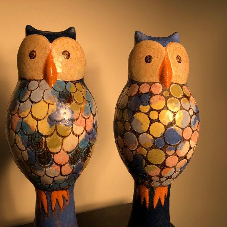 Mid-Century Modern  Stunning Pair of Owls Handmade Hand Glazed, Master Designer Eva Fritz-Lindner For Sale