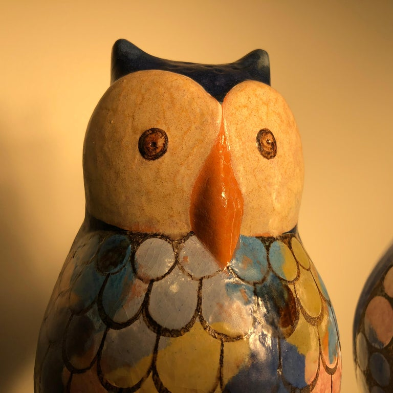 German  Stunning Pair of Owls Handmade Hand Glazed, Master Designer Eva Fritz-Lindner For Sale