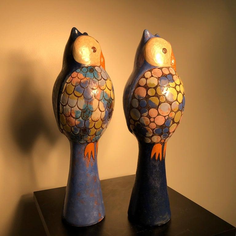 Stunning Pair of Owls Handmade Hand Glazed, Master Designer Eva Fritz-Lindner In Good Condition For Sale In Shelburne, VT