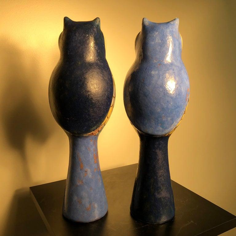 Ceramic  Stunning Pair of Owls Handmade Hand Glazed, Master Designer Eva Fritz-Lindner For Sale