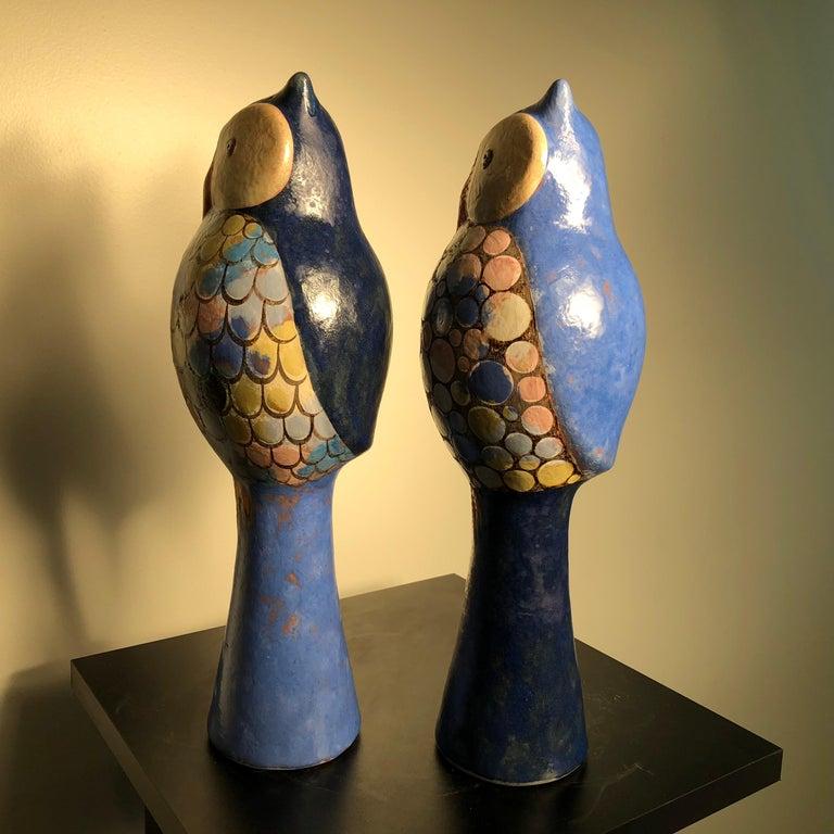 Stunning Pair of Owls Handmade Hand Glazed, Master Designer Eva Fritz-Lindner For Sale 1