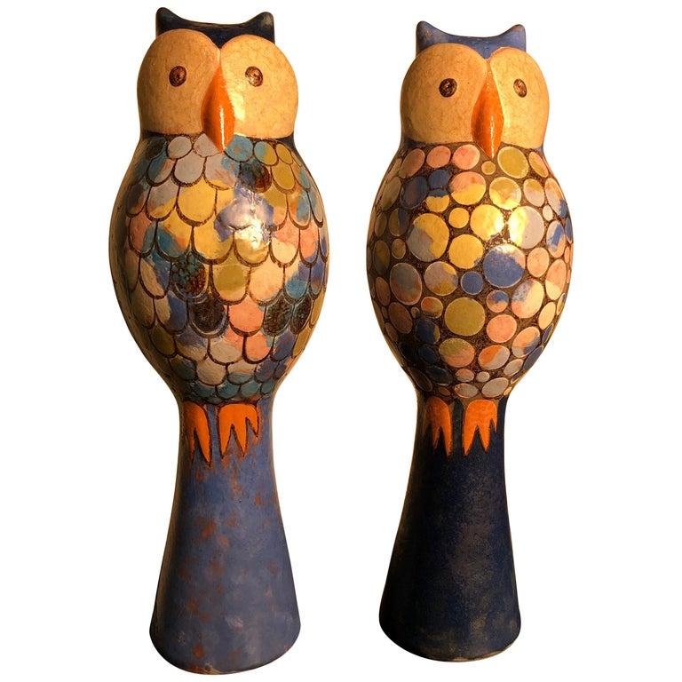 Stunning Pair of Owls Handmade Hand Glazed, Master Designer Eva Fritz-Lindner For Sale
