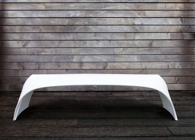 Moulded from a single piece of Corian, the contemporary Pleat bench effortlessly overlaps at each end to create a sturdy yet elegant silhouette. Suitable for both indoor and outdoor, the bench allows flexibility of use in all environments.
