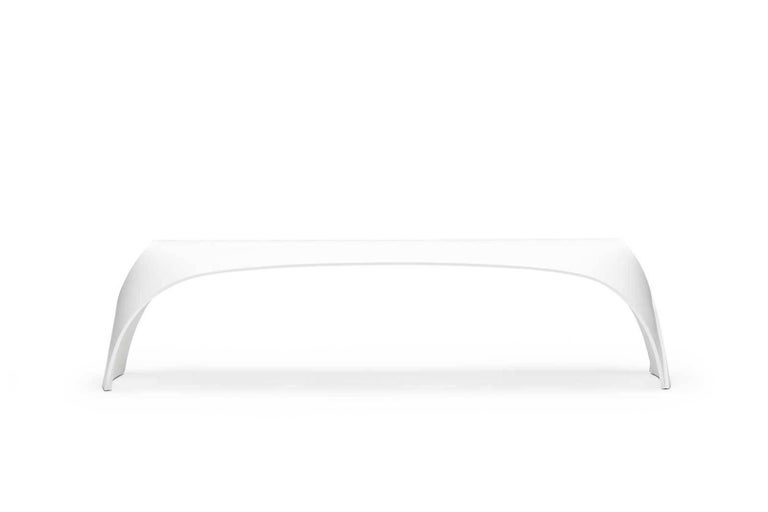 Minimalist Pleat, White Corian Bench Seat for Indoor & Outdoor Use by Made in Ratio For Sale