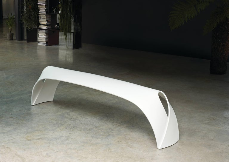 British Pleat, White Corian Bench Seat for Indoor & Outdoor Use by Made in Ratio For Sale