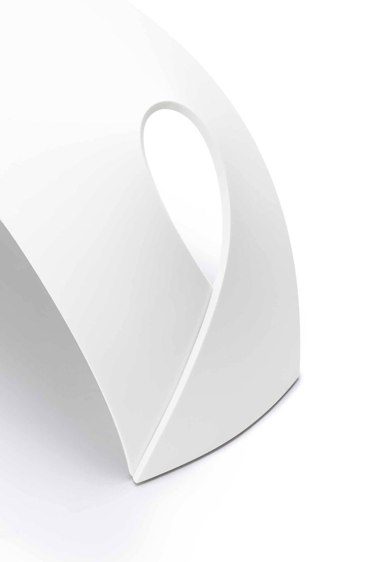 Pleat, White Corian Bench Seat for Indoor & Outdoor Use by Made in Ratio In New Condition For Sale In London, GB