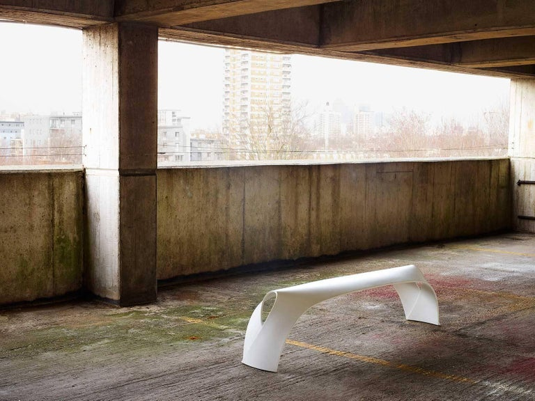 Molded Pleat, White Corian Bench Seat for Indoor & Outdoor Use by Made in Ratio For Sale