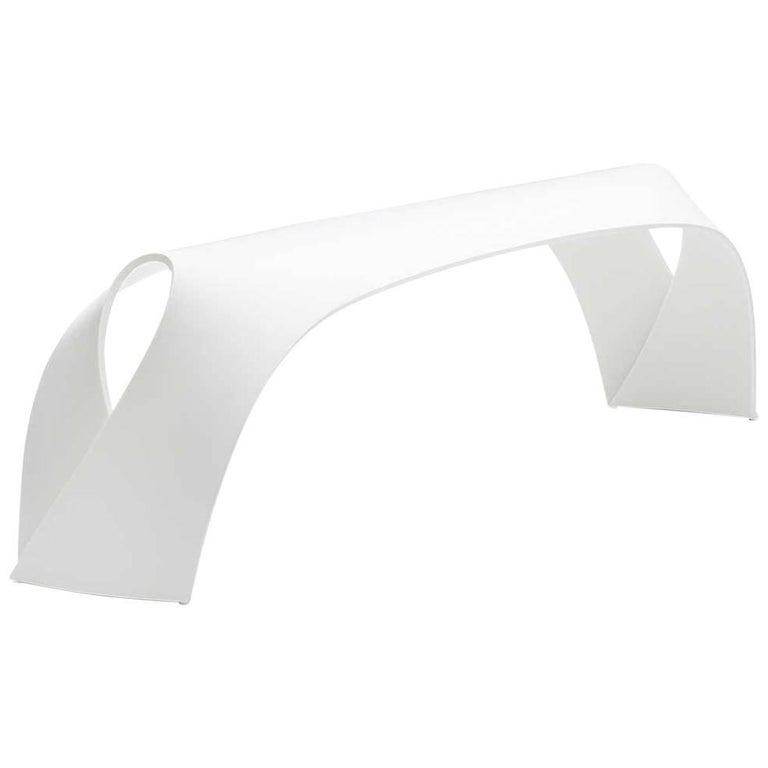 Pleat, White Corian Bench Seat for Indoor & Outdoor Use by Made in Ratio For Sale