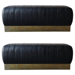 Pleated Black Leather and Patinated Brass Benches