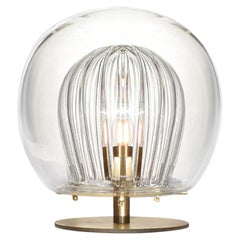 Pleated Crystal Desk Lamp, Clear 'Glass and Brass with E27 Bulb'