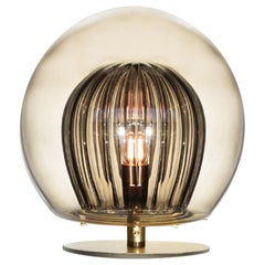 Pleated Crystal Desk Lamp, Smoke 'Glass and Brass with E27 Bulb'