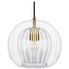 Pleated Crystal Pendant Medium, Clear 'Bohemian Glass and Brass with E27 Bulb'