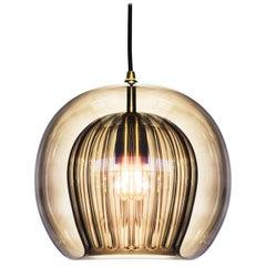 Pleated Crystal Pendant Medium, Smoke 'Bohemian Glass and Brass with E27 Bulb'