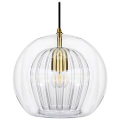 Pleated Crystal Pendant Small, Clear 'Bohemian Glass & Brass with E27 Bulb'