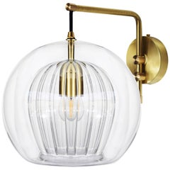 Pleated Crystal Wall Light Medium, Clear 'Glass and Brass with E27 Bulb'
