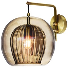 Pleated Crystal Wall Light Small, Smoke 'Glass and Brass with E27 Bulb'