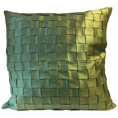 Pleated Silk Cushion Basket Weave Pattern Color Green