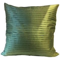Pleated Silk Cushion Box Pleat Pattern Color Green