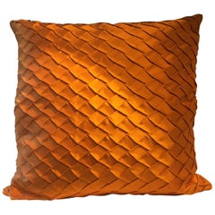 Pleated Silk Cushion Fish Scale Pattern Color Orange