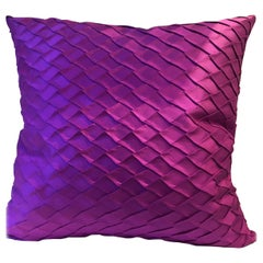 Pleated Silk Cushion Fish Scale Pattern Color Orchid