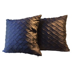 Pleated Silk Cushions Opal Pattern Color Dark Blue
