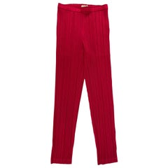 Pleats Please Pink Plated Pants, Size 5