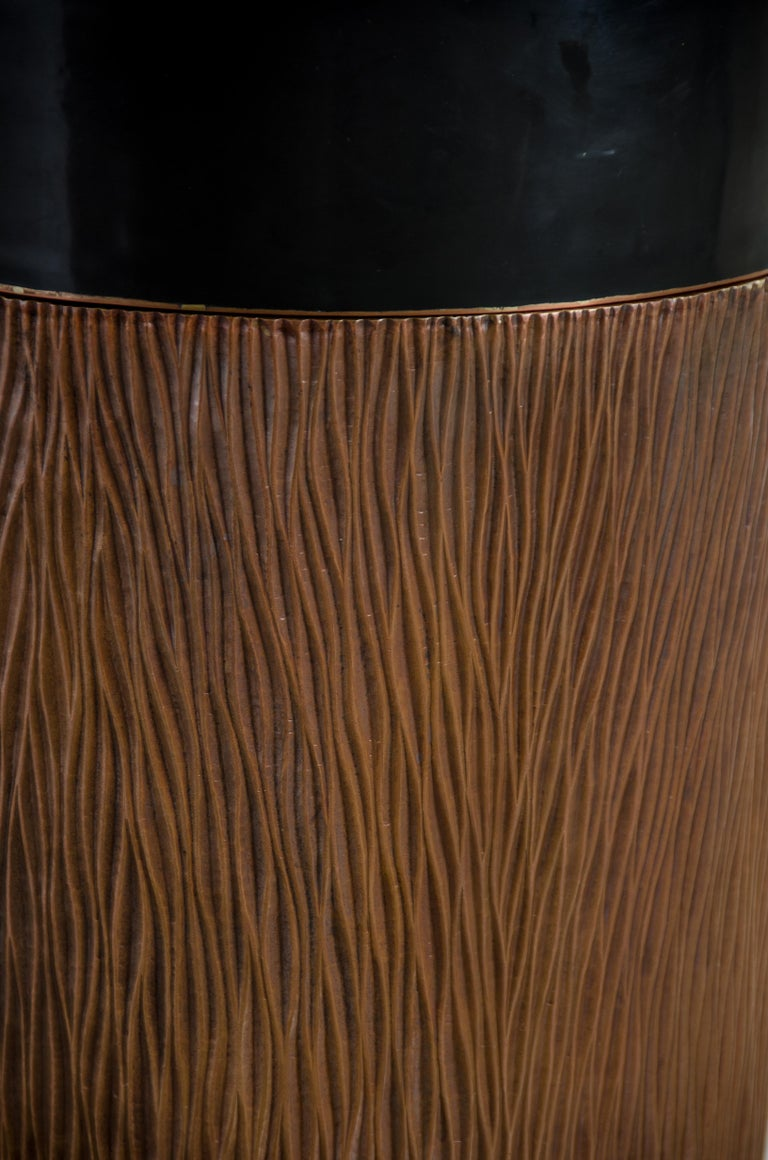 Repoussé Pleats Storage Drumstool, Antique Copper and Black Lacquer by Robert Kuo For Sale