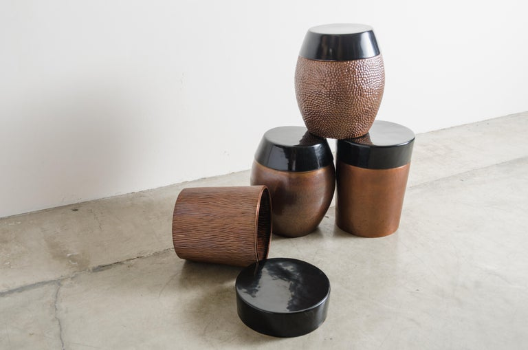 Contemporary Pleats Storage Drumstool, Antique Copper and Black Lacquer by Robert Kuo For Sale