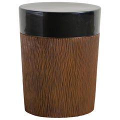 Pleats Storage Drumstool, Antique Copper and Black Lacquer by Robert Kuo