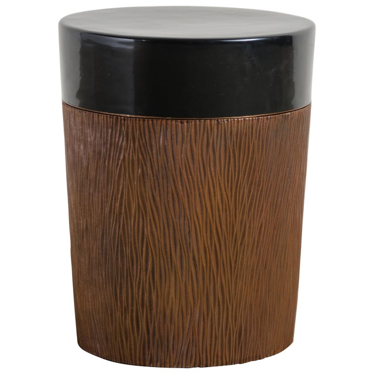 Pleats Storage Drumstool, Antique Copper and Black Lacquer by Robert Kuo For Sale