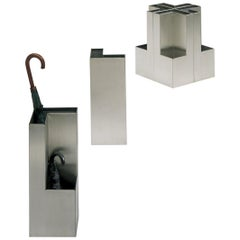 Umbrella Stand in stainless steel for large and small umbrellas.