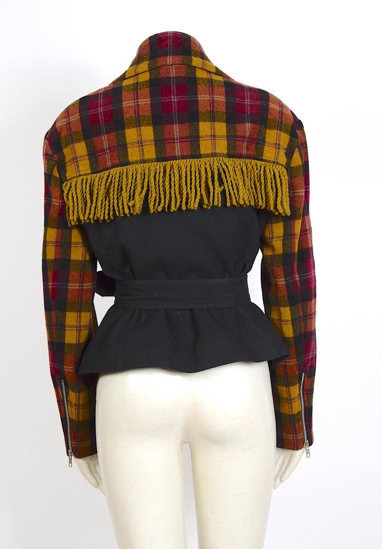 Black Plein Sud 1980s vintage wool fringed short belted jacket For Sale
