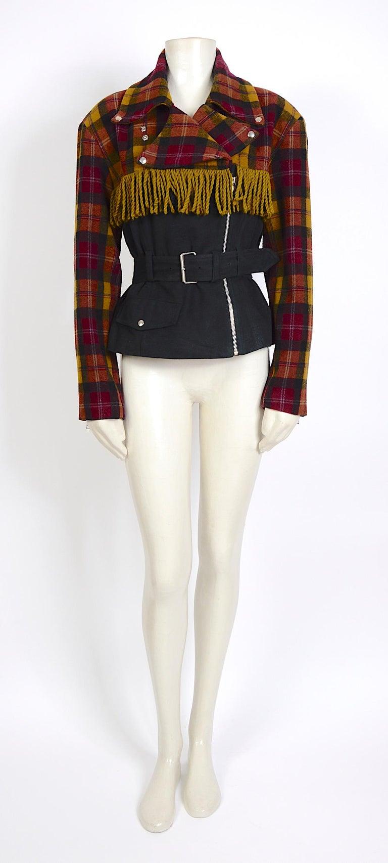 Women's Plein Sud 1980s vintage wool fringed short belted jacket For Sale