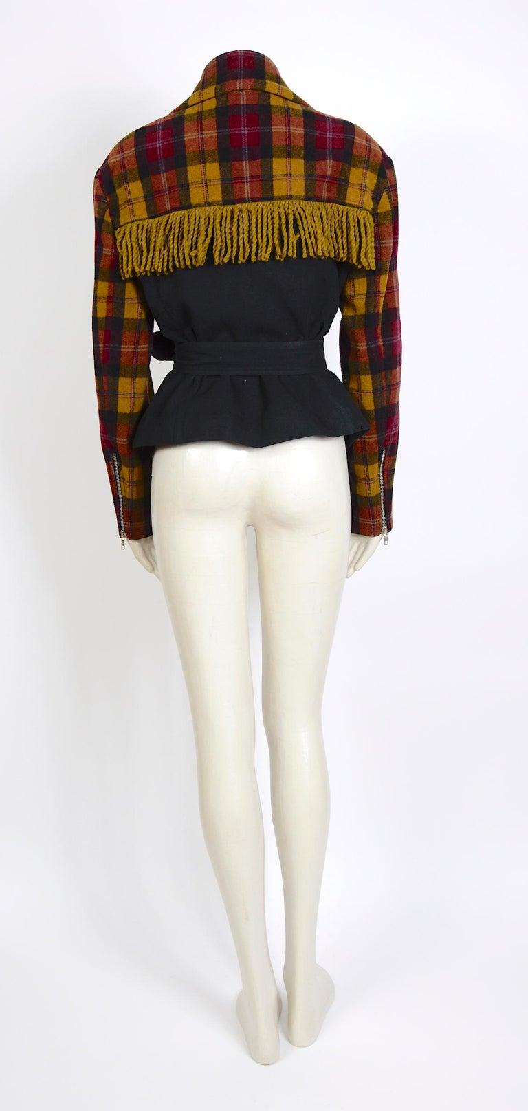 Plein Sud 1980s vintage wool fringed short belted jacket For Sale 1